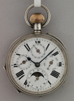 Silver french moon/calender pocket watch