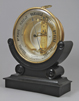 French 'Bourdon' table- or wall-barometer on ebonised basement.