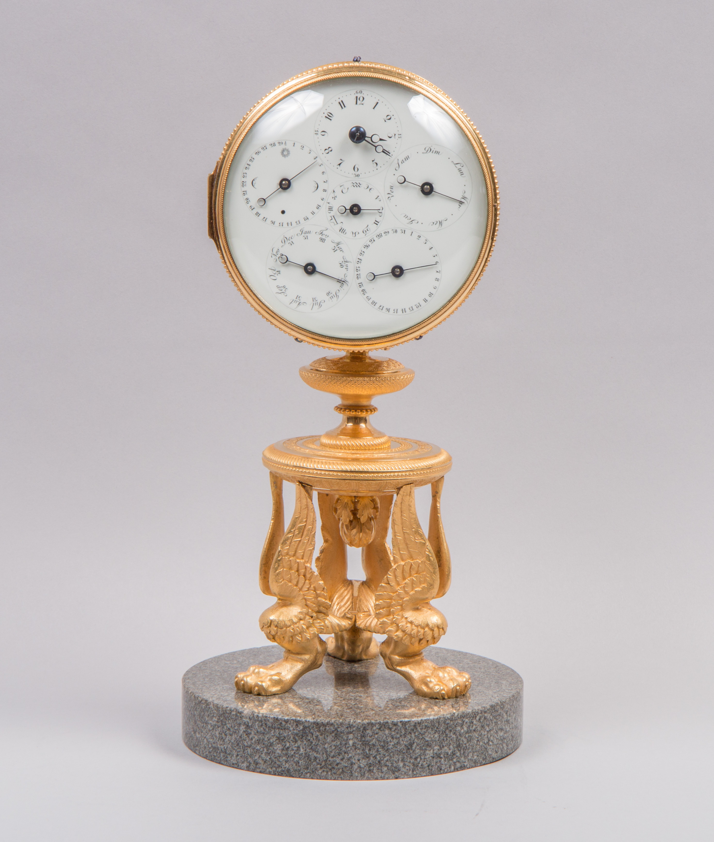 Empire table clock with eternal calendar, c. 1800.