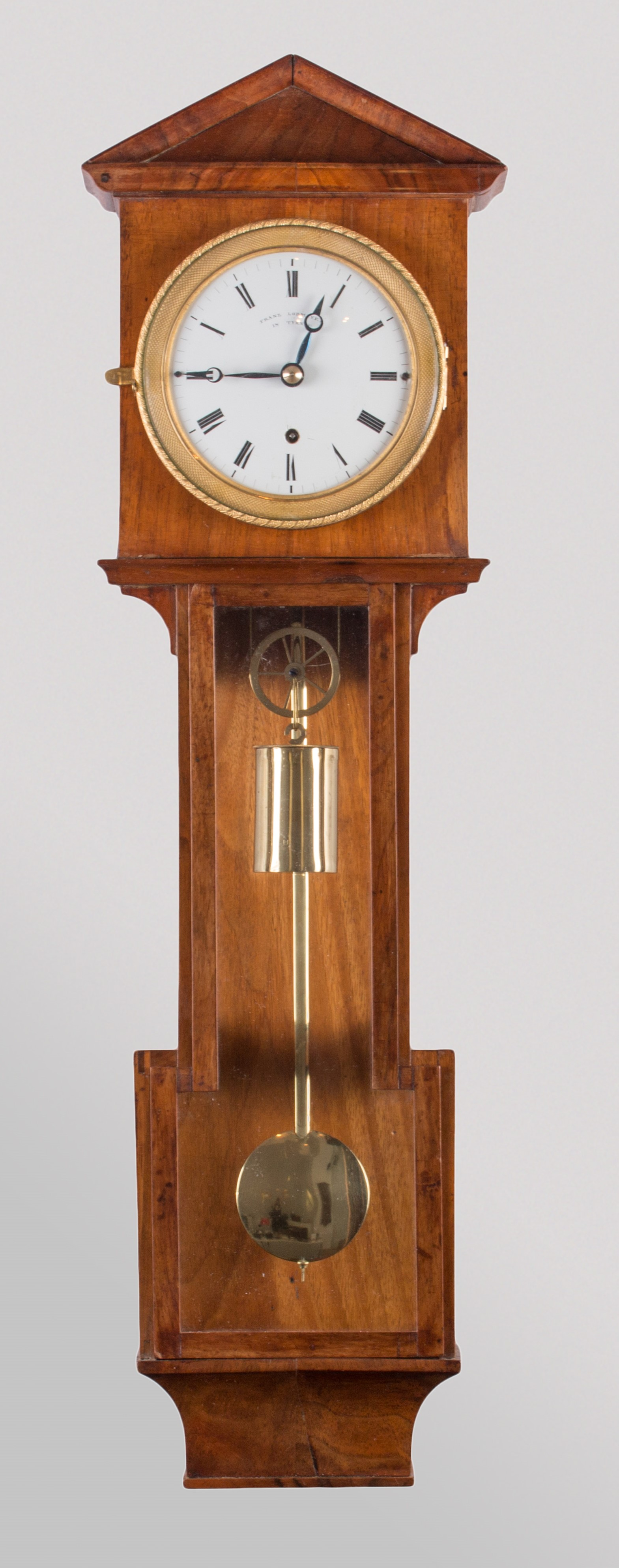 Small Laterndl clock by Franz Lobmayer with 10 days duration, c. 1830.