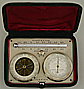 174. A FRENCH TRAVELLING SET WITH ANEROID BAROMETER, THERMOMETER AND COMPASS, signed 'JULES RICHARD CONSTRUCTEUR PARIS', circa: 1871-1882.