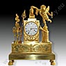 Important Empire mantel clock (1815 ca.) of incredible level of chasing, representing Love which crowns the Friendship, original gilded mercury bronze in the matt and brilliant.