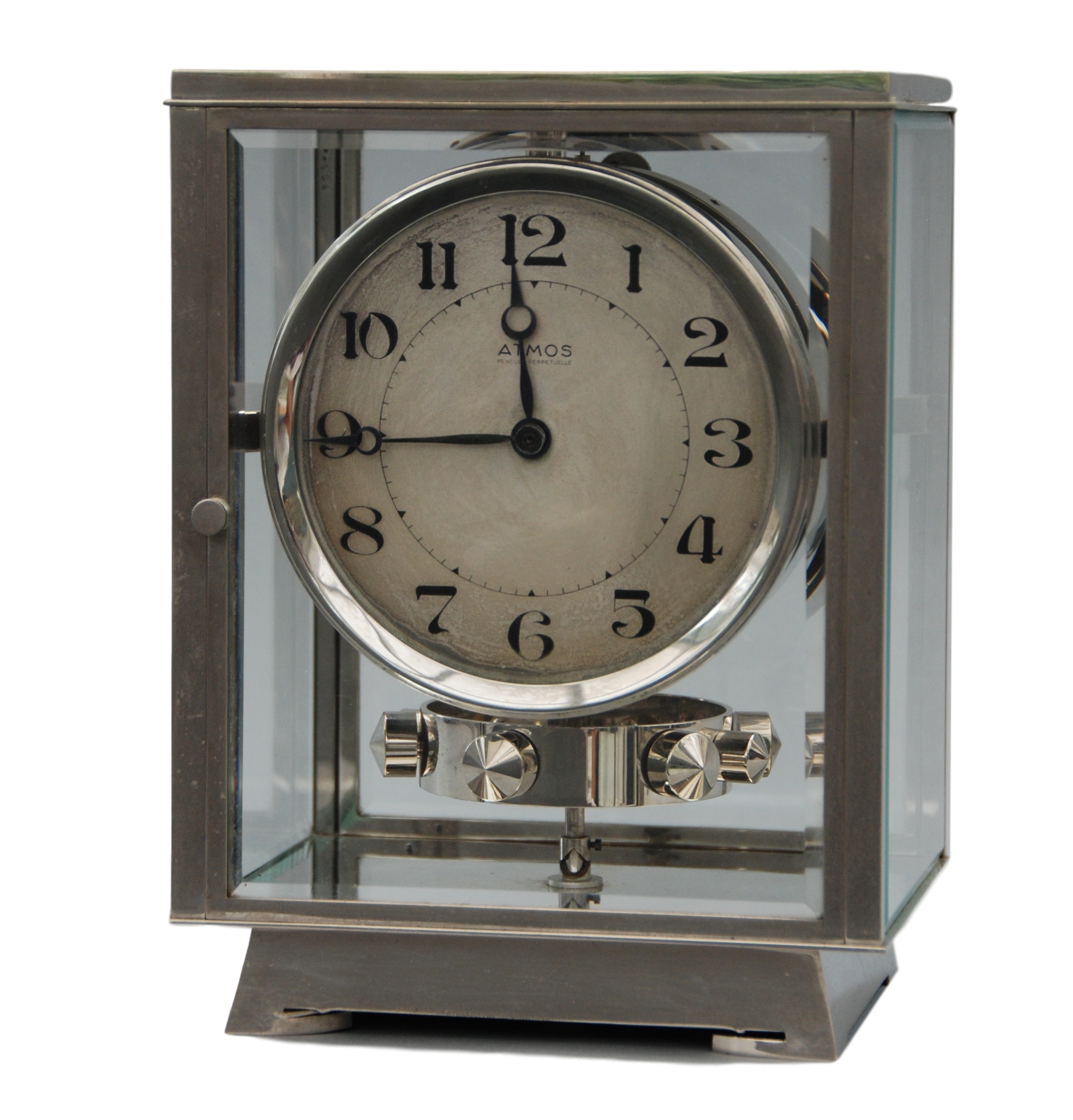 An early 1932 Rhodium plated art deco J. L. Reutter four-glass clock.