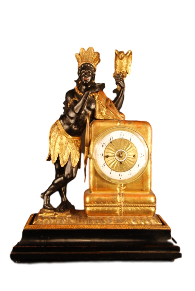 Wooden viennese 'au bon sauvage' clock with moving eyes automaton and music box.
