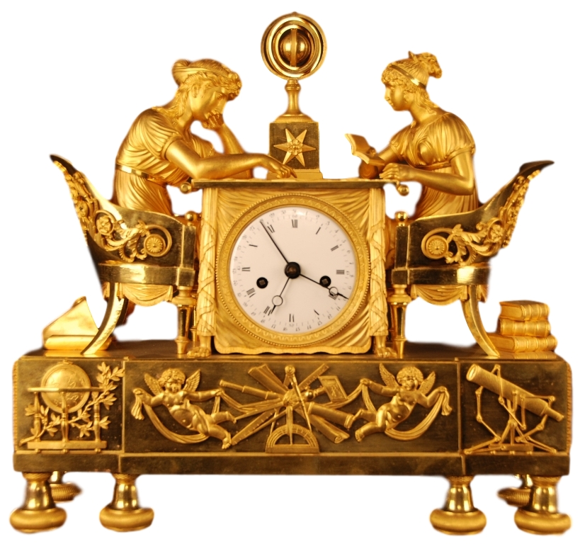 Beautiful Empire Mantel Timepiece 'La leçon d'Astronomie'. France ca. 1800