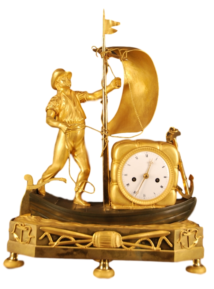 Empire antique and rare genre matelot mantel clock, France ca. 1810
