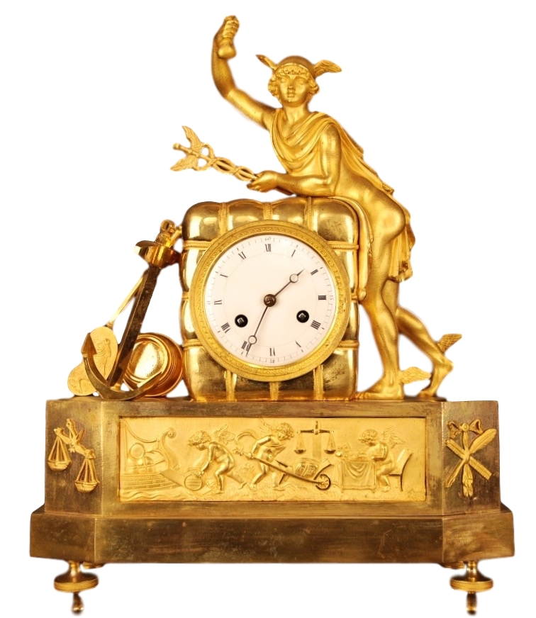 Very rare French gilt bronze mantel clock, member of the 'Au bon Sauvage' familie, with a gilt statue of 'Mercury/Hermes' Roman/Greek god of trades and thieves, further identical to 'Au Matelot'. Directoire, ca 1795.