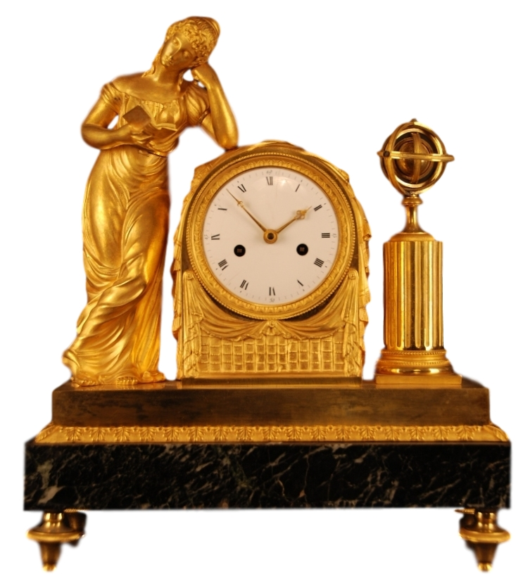 Empire mantel clock, 'La Liseuse', ca. 1810.