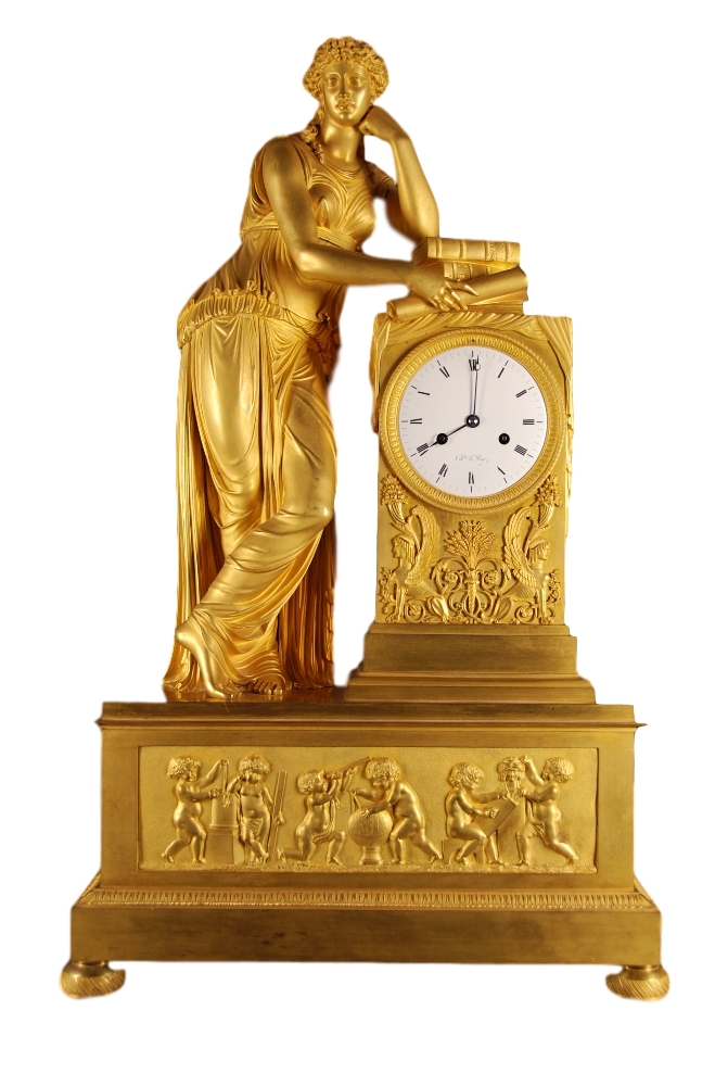A very fine Empire gilt bronze figural mantle clock
