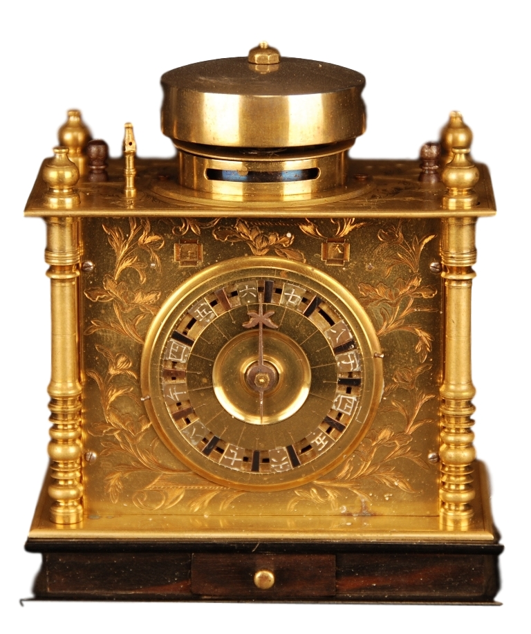 c.1850 Miniature Japanese Pillar Clock.