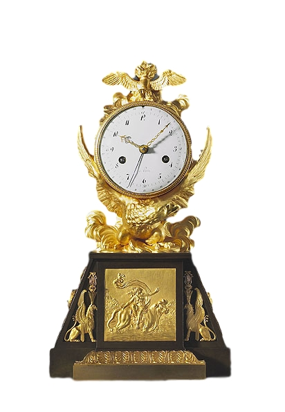 A very rare Directoire - 1793-95 - gilt and patinated bronze mantle clock of eight day duration, the white enamel dial signed a  Paris