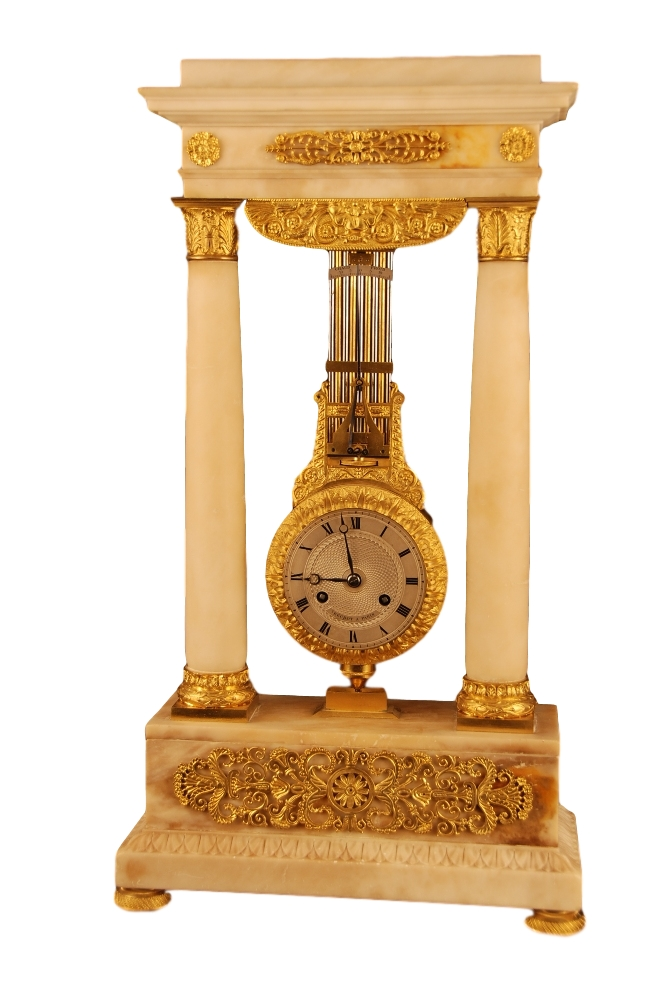 c.1830 French Marble and Ormolu Swinging Portico Clock, Béchot à Paris.