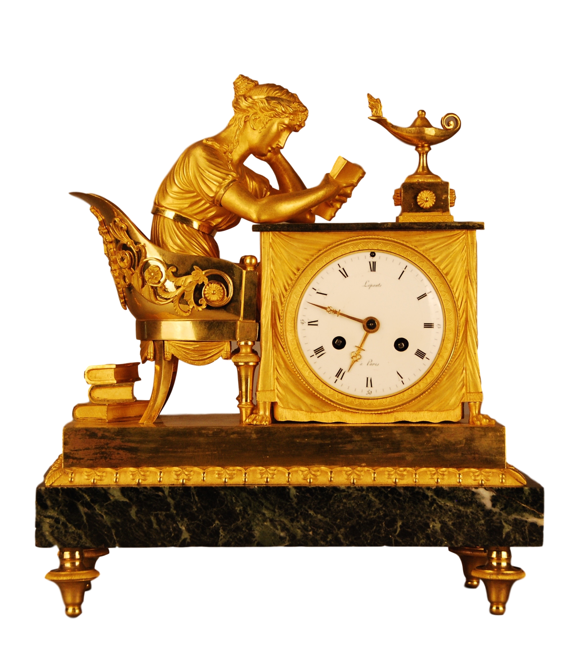 French mantel clock, 'Lectura', signed 'Lepaute - Paris', ca. 1808.