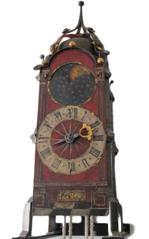 A gothic iron clock with balance controlled verge escapement, South Germany, dated 1587. Een gotische ijzeren klok met spillegang echappement met balans, Zuid Duits, gedateerd 1587.