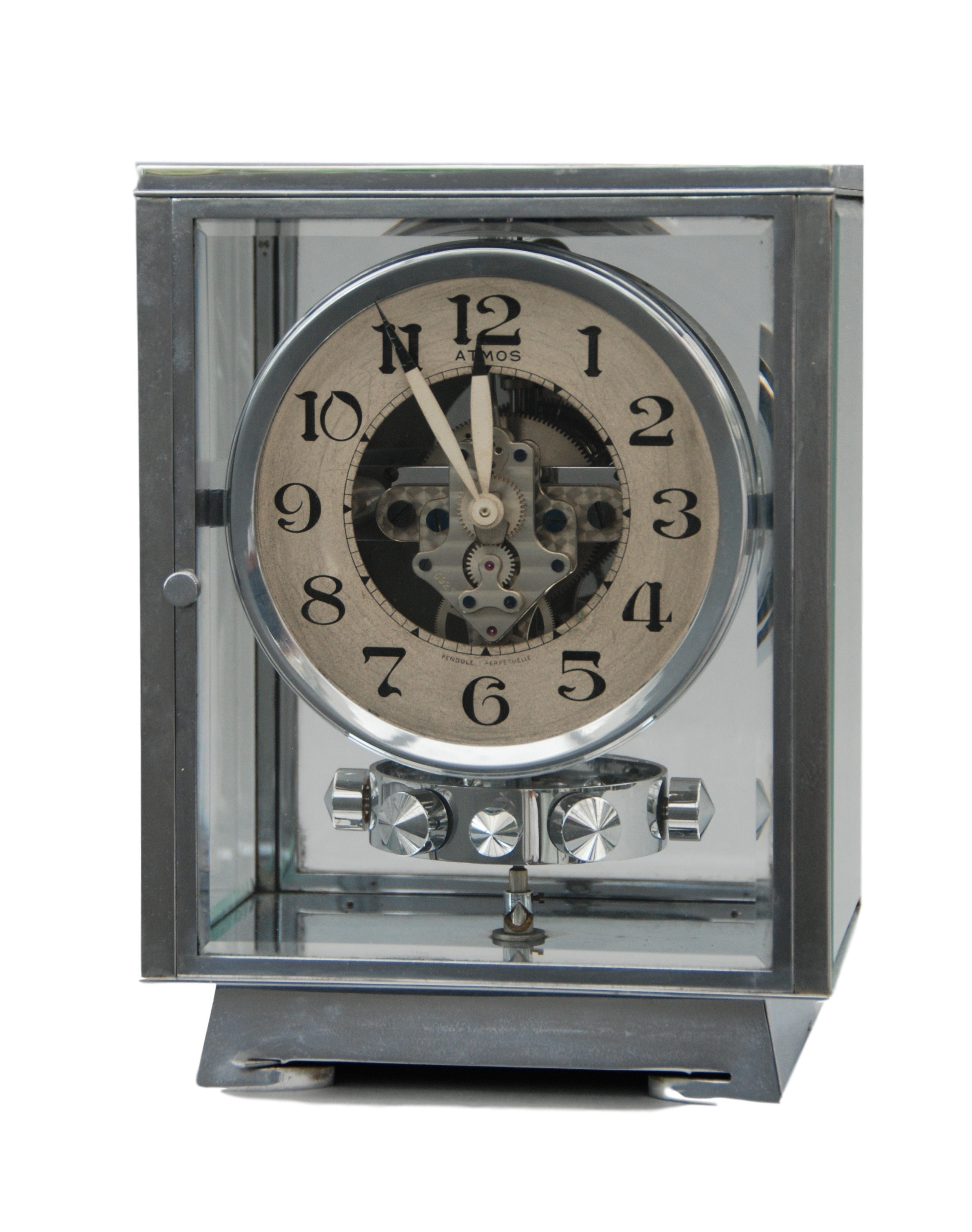 An early 1930's Rhodium plated art deco J. L. Reutter four-glass clock.