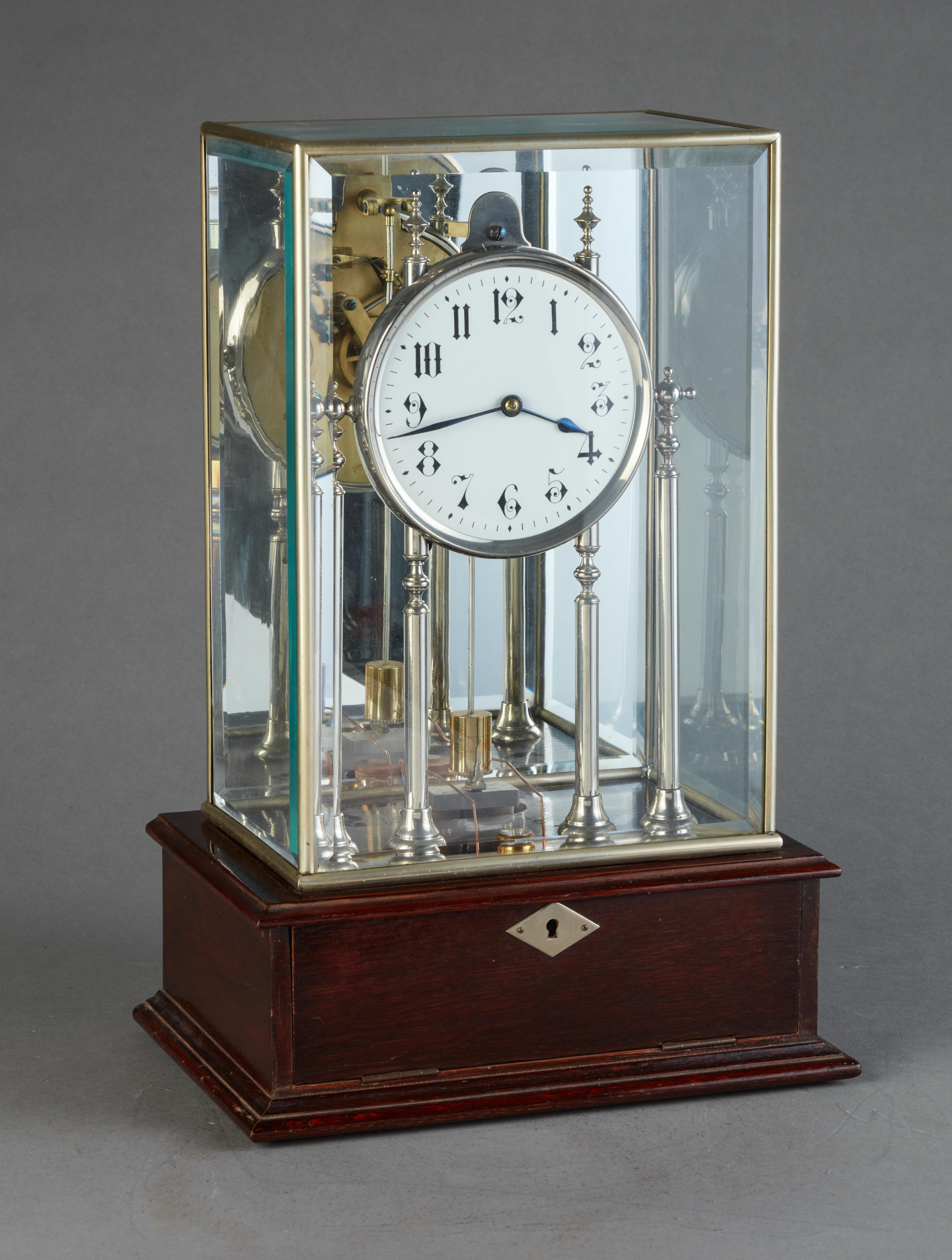 Untouched four glass electrical mantel clock from