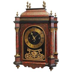 Good Late 19th Century English Boulle Work Quarter Chiming Mantel Clock