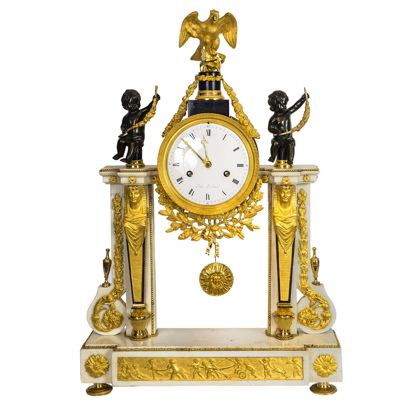 French Louis XVI Marble, Ormolu and Patinated Bronze Mantel Clock, circa 1780