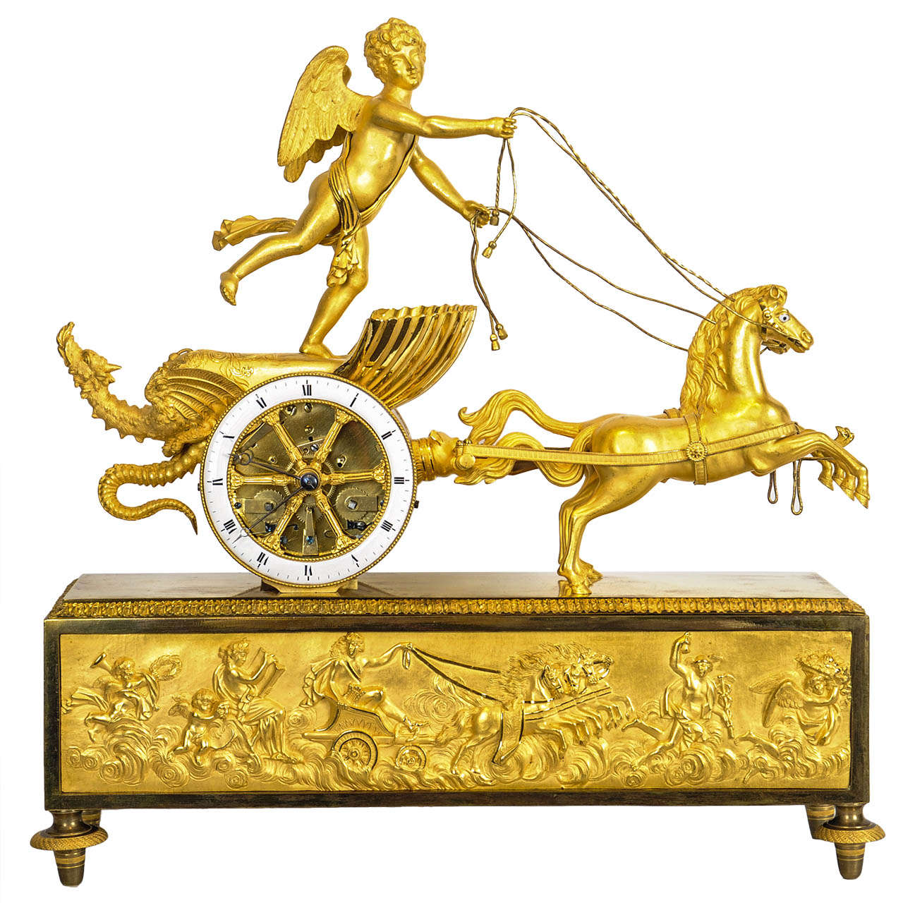 A charming French Empire ormolu chariot clock, circa 1810