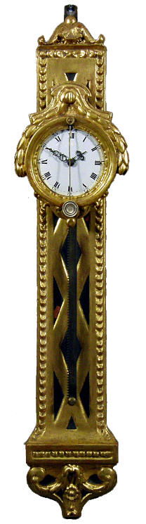 An attractive South German parcel gilt rack wall timepiece, mid 18th Century, h. 74cm.