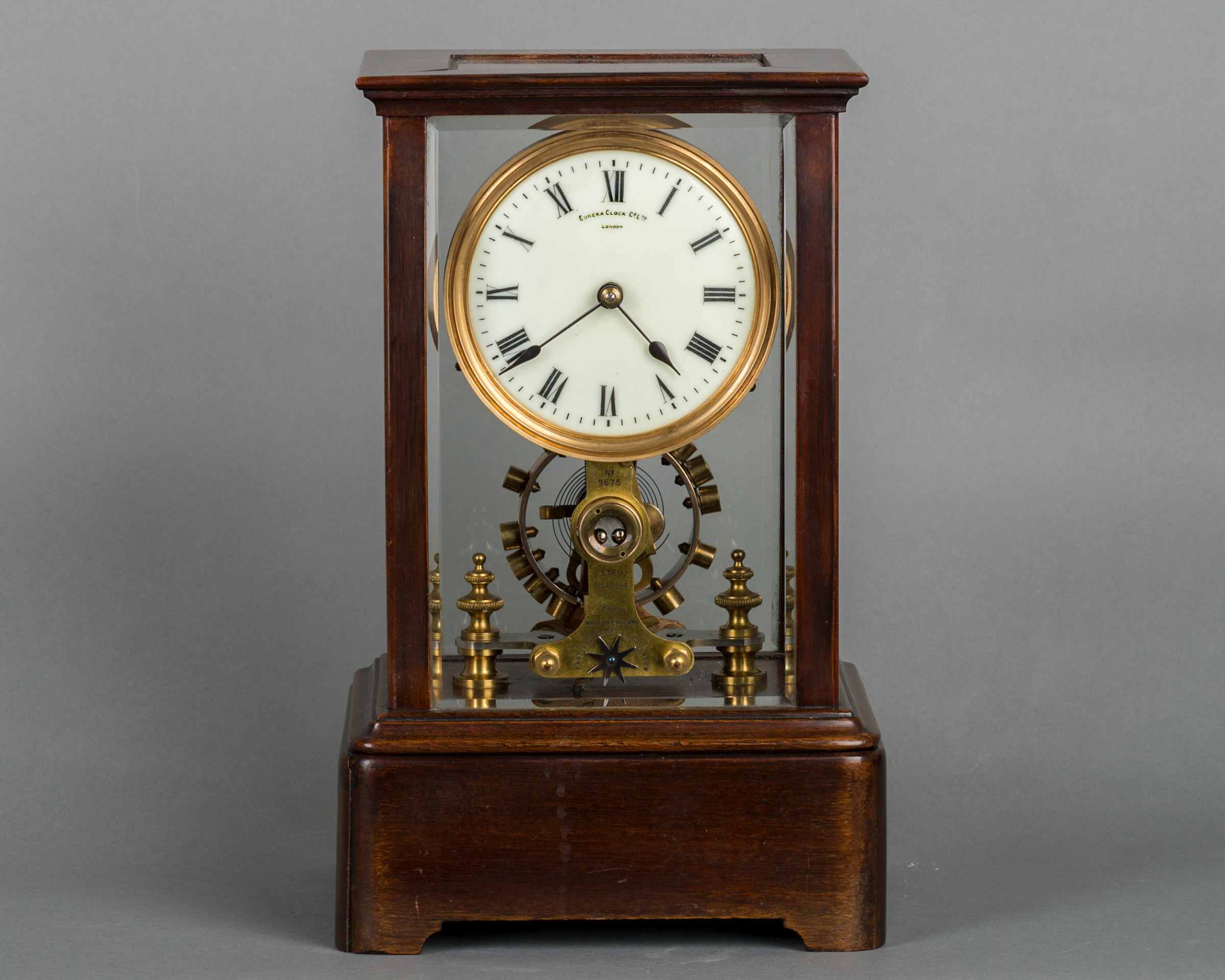 Eureka Clock Co Ltd., a battery powered mahogany mantel clock, circa 1908