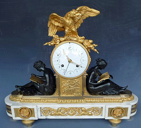 A Louis XVI fire gilded and patinated bronze and marble mantel clock 'Pendule à l'étude', circa 1785.