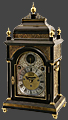 31604c.br Daniel Delander, London. An important ebony bracket clock with beautifully engraved frets and silver chapter ring and spandrels. Circa 1715.