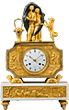 Paul and Virginie clock, White Marble and Gilt and Patinated Bronze Clock. Case by Jean-Simon Deverberie. Paris, Directoire period, circa 1795