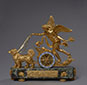 Love Led by Fidelity, Rare Gilt Bronze and Enamel Chariot Clock.