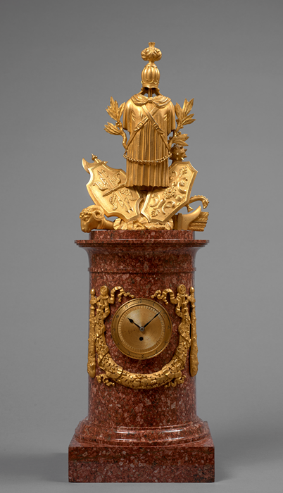 Important Gilt Bronze and Swedish Porphyry War Trophy Mantel Clock 