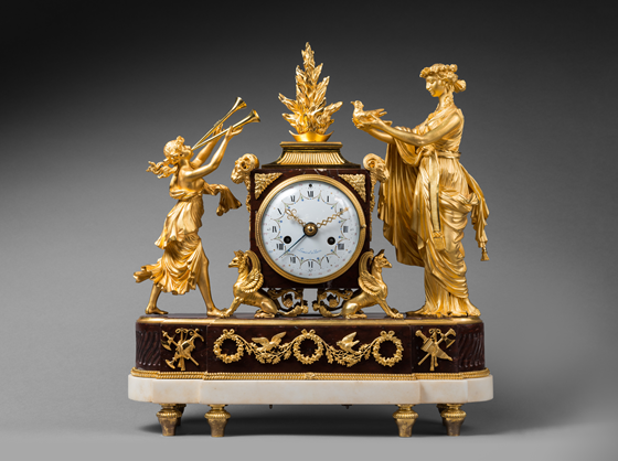 Rare Gilt Bronze and Rouge Griotte Marble Mantel Clock 