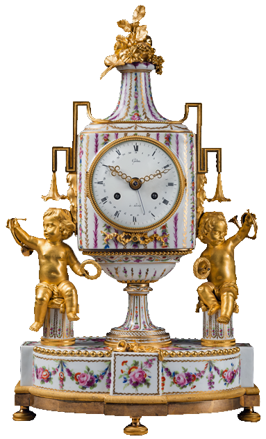 A French, eighteenth-century Louis XVI porcelain and ormolu brass mantel clock, signed Godon, c. 1790.