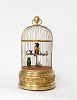 A French brass birdcage with two birds automaton, circa 1900