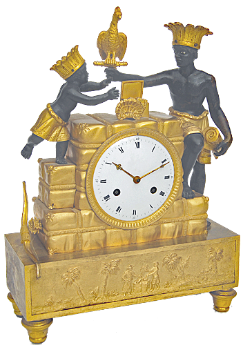 An antique gilt bronze and patinated 'aux sauvage' mantel clock called